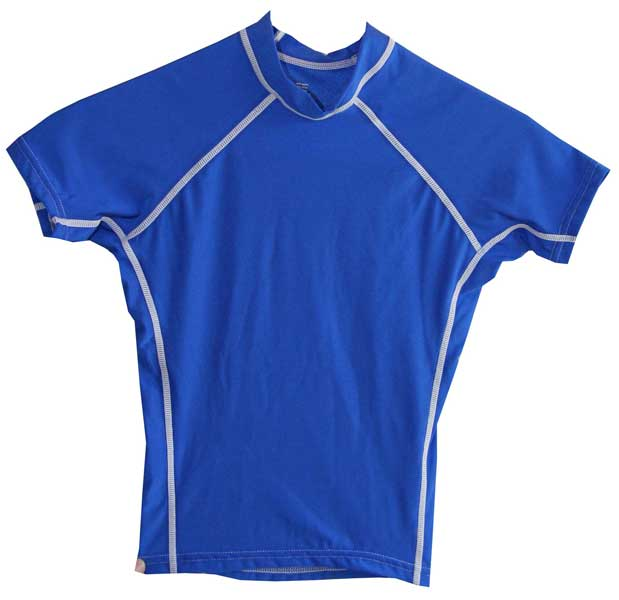 Kids swim shirt short sleeve royal blue for Baby rash guard shirt