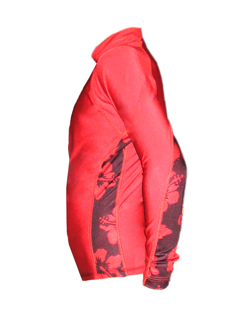 Kids Long Sleeve Red Aloha Rash Guard