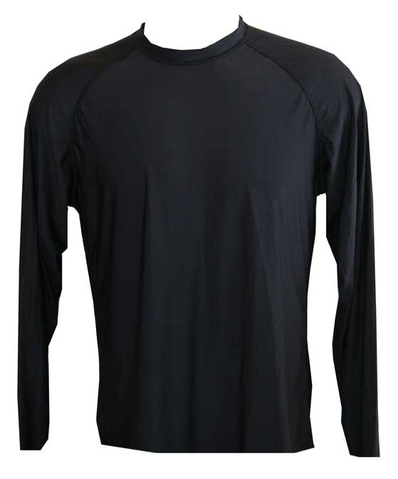 Kids Long Sleeve Black UV Rash Guard