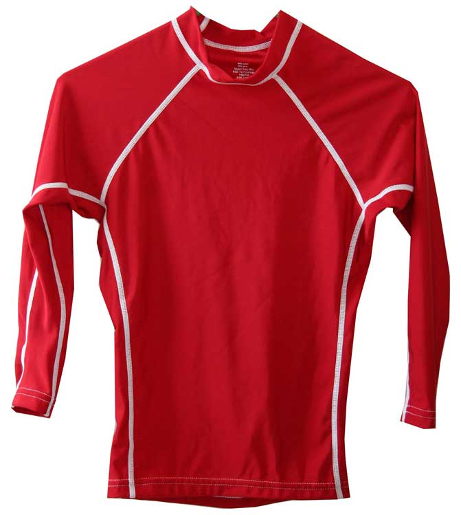 Kids Long Sleeve Red UV Rash Guard