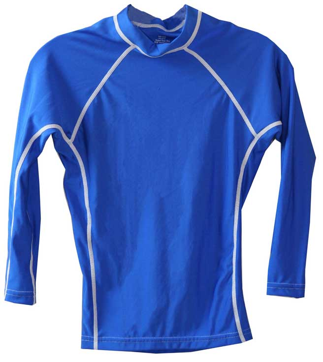 Kids Long Sleeve Blue UV Rash Guard